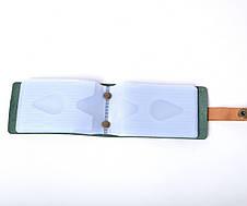 Кожаная визитница Viza унисекс зеленая, фото 2