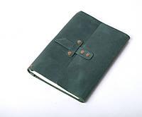 Кожаный блокнот А5 «Nota5 Green» унисекс Зеленый (21x15 см) ручной работы от pan Krepko