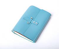 Кожаный блокнот А5 «Nota5 Azure» женский Голубой (21x15 см) ручной работы от pan Krepko