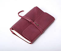 Кожаный блокнот А6 «Nota6 Marsala» женский Бордовый (15x11 см) ручной работы от pan Krepko