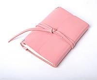 Кожаный блокнот А6 «Nota6 Powder» женский Розовый (15x11 см) ручной работы от pan Krepko