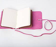 Шкіряний блокнот А6 «Nota6 Fuchsia» жіночий Малиновий (15x11 см) ручної роботи, фото 2