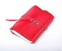 Кожаный блокнот А6 «Nota6 Red» женский Красный (15x11 см) ручной работы от pan Krepko
