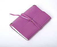 Кожаный блокнот А6 «Nota6 Lilac» женский Сиреневый (15x11 см) ручной работы