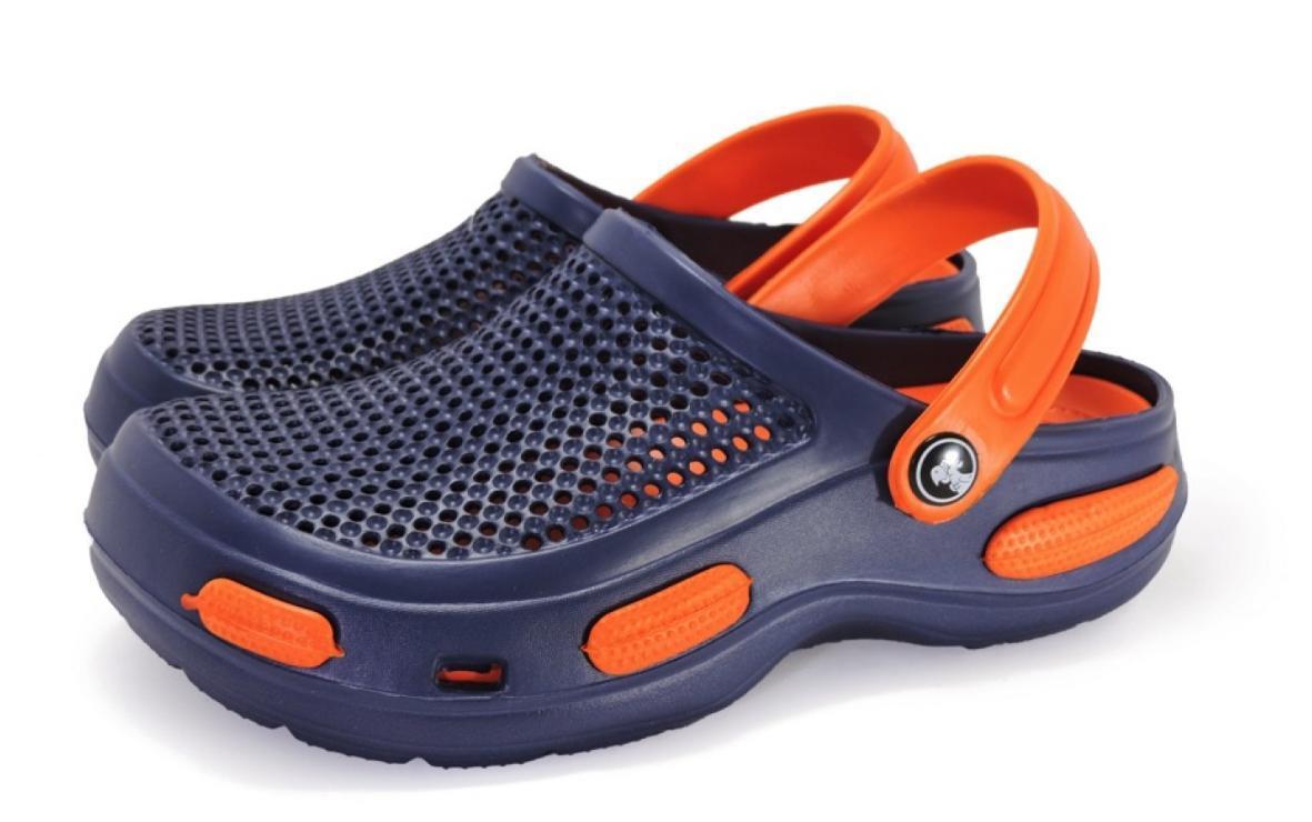 Кроксы шлепанцы сабо синие с оранжевым, размеры 36, 37, 38, 39, 40, 41, 42, 43, 44, 45