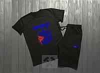 Мужской комплект футболка + шорты Reebok черного цвета (люкс копия)