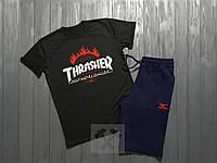 Мужской комплект футболка + шорты Thrasher черного и синего цвета (люкс копия)