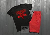 Мужской комплект футболка + шорты Thrasher черного и красного цвета (люкс копия)
