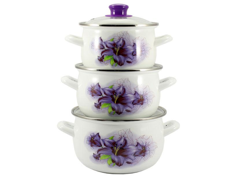 Набор эмалированных кастрюль Interos 6/L 3предмета Violet лилия