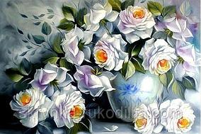 Алмазна вишивка DM-046 Білі рози  (Алмазная мозаика)