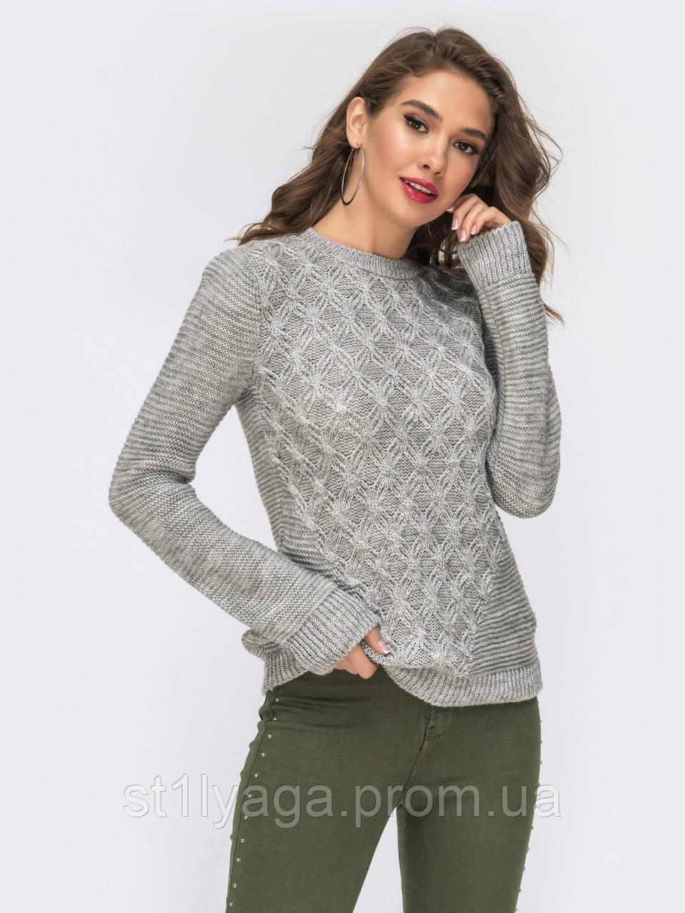 S-L Уютный свитер  с геометрическим узором