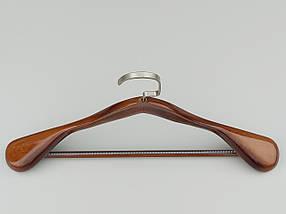 """Длина 45 см. Плечики  деревянные """"Premium"""" широкие коричневого цвета, фото 3"""