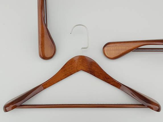 """Длина 45 см. Плечики  деревянные """"Premium"""" широкие коричневого цвета, фото 2"""