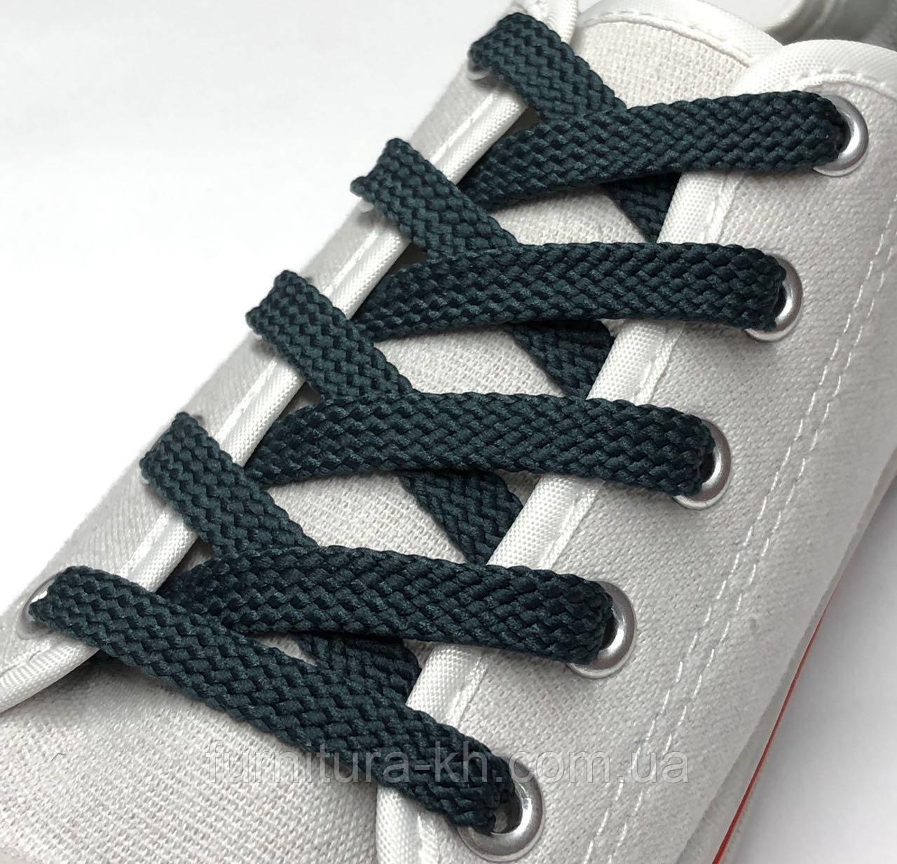 Шнурок Простой Плоский Длинна 1,5 м  цвет Темно Зеленый(ширина 7 мм)