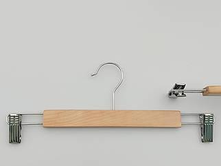 Довжина 35 см. Плічка вішалки тремпеля дерев'яні світлі для штанів і спідниць