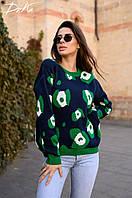 Шикарный вязаный женский свитерок .Основа черного цвета,узор зеленый.