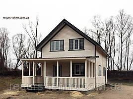 Дачный домик 6,0м х 8,0м из фальшбруса с мансардой и террассой