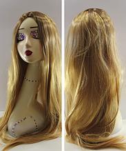 Парик длинный прямой блонд с пробором без челки омбре 75см