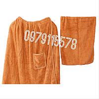 Мужской набор для сауны и бани микрофибра травка полотенце юбка килт Золотой
