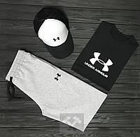 Мужской летний костюм (футболка/шорты/кепка) Андер Армор, костюм Under Armour хлопок, ТОП качества.