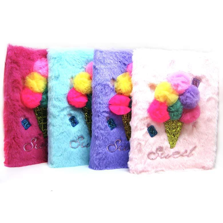 Блокнот для записей А5 80л. Мех Мороженое, цвет в ассортименте M-041