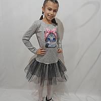 Детское платье для девочки с котиком размеры (116-140 см)