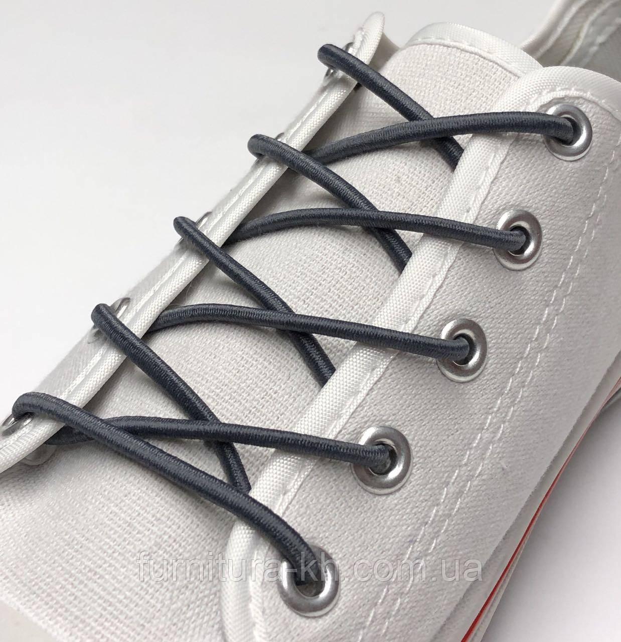 Шнурок Резиновый Круглый-Цвет Темно-Серый (толщина 3 мм).Длинна 0,80 см