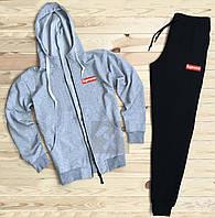 Мужской спортивный костюм Supreme черного и серого цвета (люкс копия)