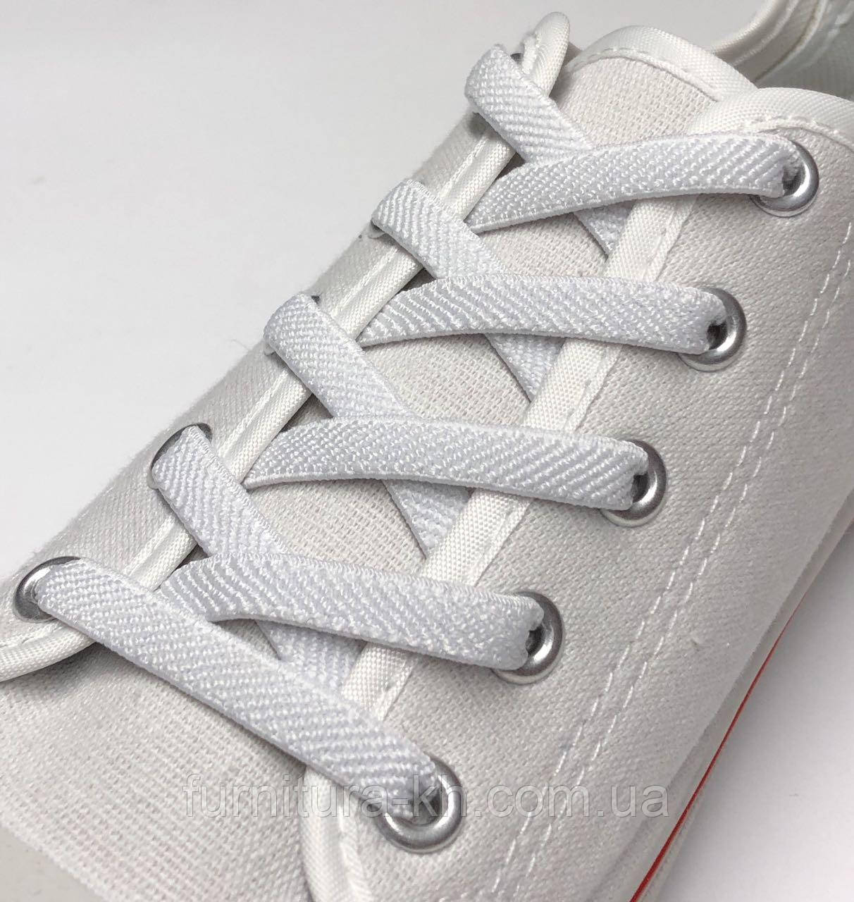 Шнурок Резиновый Плоский-Цвет Белый (толщина 7 мм).Длинна 0,70 см