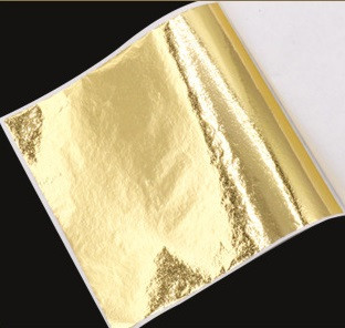 Поталь кольорова в аркушах (фольга для декорування), Золото, 8*8,5 см, 50 аркушів