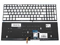 Клавиатура для ноутбука Asus G501, G501JW, G501VW, N501, N501JW, UX501, Q501 ( RU Silver без рамки с