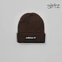 Шапка Adidas коричневого цвета  (люкс копия)