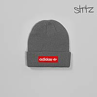 Шапка Adidas серого цвета  (люкс копия)