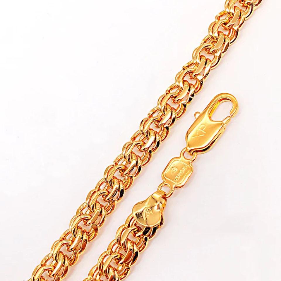 Браслет Xuping Jewelry 20,5 см х 7 мм Классический Бисмарк медицинское золото позолота 18К А/В 4-0034
