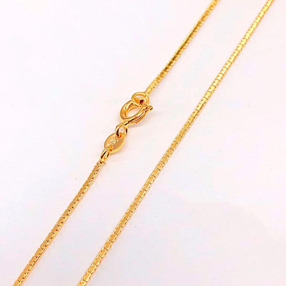 Цепочка Xuping Jewelry 45 см х 1 мм Сколоченная четырехгранная медицинское золото позолота 18К А/В 4744