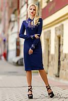 Модное платье футляр с длинным рукавом, трикотажное, с узором из страз, деловое, осеннее, фото 1