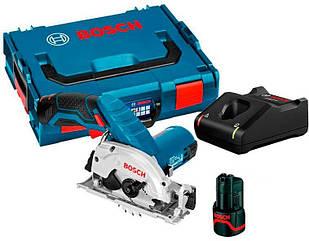 Аккумуляторная дисковая пила Bosch GKS 12V-26 + з/у GAL 12V-40 + 2 x акб GBA 12V 2 Ah + чемодан L-boxx (06016A1000)
