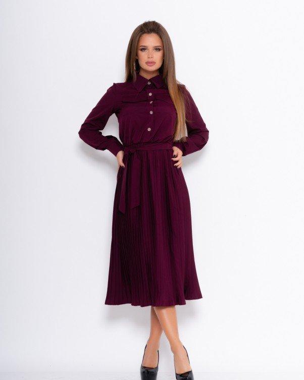 Фиолетовое платье-рубашка с плиссированным низом