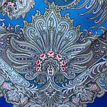 У синего моря 681-13, павлопосадский платок шерстяной  с шелковой бахромой, фото 2