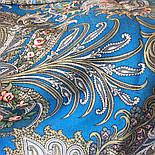 У синего моря 681-13, павлопосадский платок шерстяной  с шелковой бахромой, фото 4