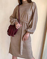 Платье из ангоры с рукавами-воланами и поясом, Песочный, L (2727)