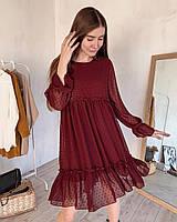 Платье шифоновое с рельефной структурой, Бордовый (974)