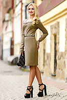 Стильное трикотажное платье осеннее с длинным рукавом, деловое, повседневное, фото 1