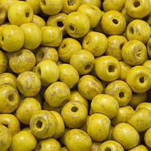 Бусины Деревянные Окрашенные, Круглые, Цвет: Желтый, Размер: 7х6мм, Отв-тие 3мм, около 450шт/50г, (УТ0003356)