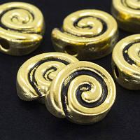 Бусины Металлические, Круглые Плоские, Цвет: Античное Золото, Размер: 9х8х3.5мм, Отв-тие 2мм, (УТ000004972)