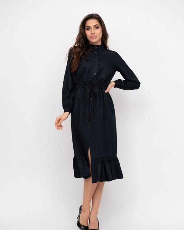 Темно-синее принтованное байковое платье-рубашка S