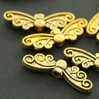 Бусины Бабочка, Металл, Цвет: Античное Золото, Размер: 6х22х4мм, Отв-тие 1.5мм, (УТ000007756)