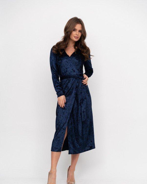 Вечернее синее платье-халат на запах приталенное втачным поясом размер S
