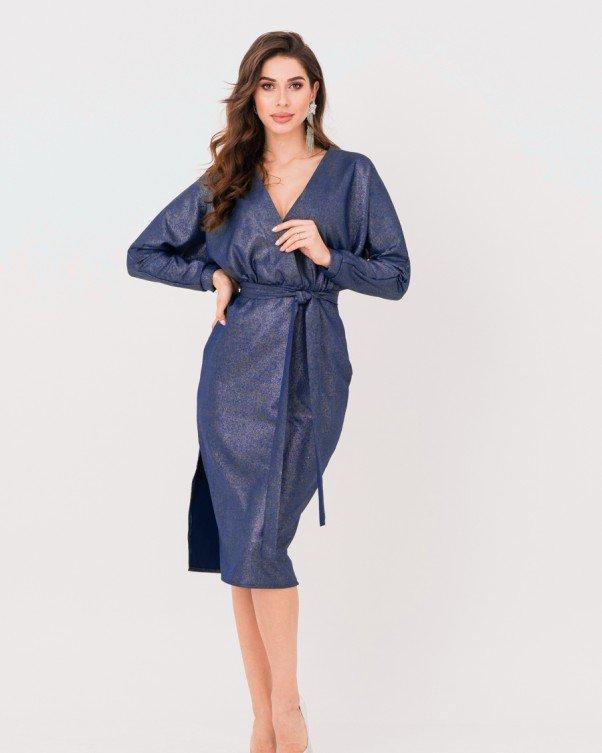 Синее блестящее платье с горловиной на запах (S M L XL)