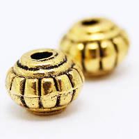 Бусины Металлические, Рондель, Цвет: Античное Золото, Размер: 6х6х4.5мм, Отв-тие 1.5мм, (УТ000006085)